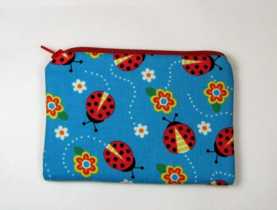 Zipper Coin Purse (little) Padded Pouch / iPhone Case / Camera Bag - Red Ladybugs - girls summer purse