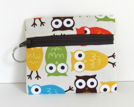 Owls Coin Purse / little Zipper Pouch / Lanyard Purse Key Ring /small Wallet