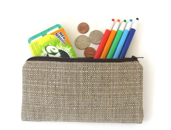 Grasscloth Pencil Case Unisex Back to School Supplies Cotton Pencil Pouch Clutch or Cosmetic Bag Coin Purse