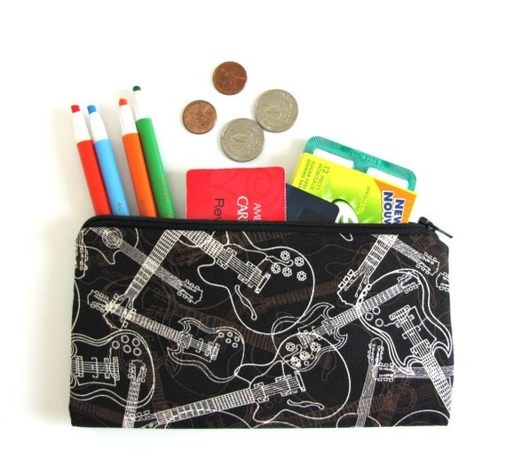 Guitars Zipper Pouch Back to School Pencil Case Unisex Pencil Pouch Children Teens or Adults School Supplies
