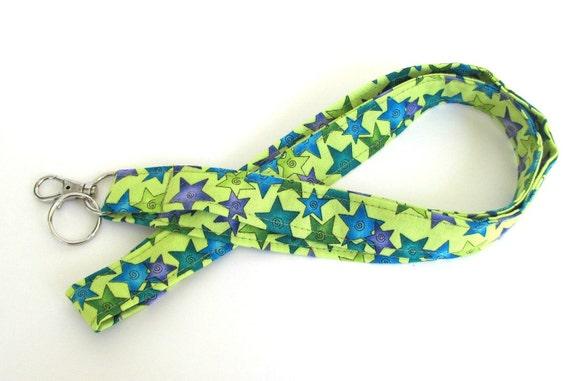 Fabric ID Badge Lanyard / Women's Keys Lanyard Star Struck lime purple blue