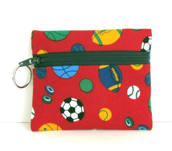 Little Coin Purse - Kids Summer Sports Zipper pouch with Key Ring - Children Summer Fun