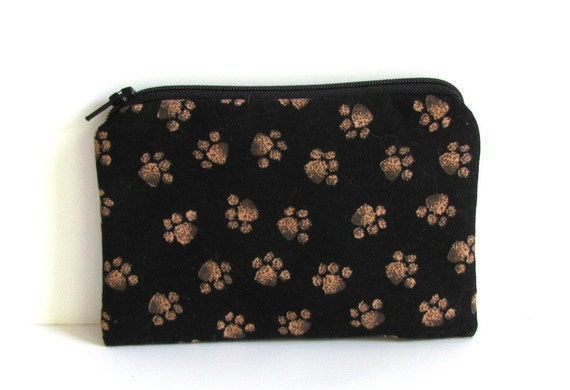 Coin Purse for kids or adults / Zipper pouch (padded) Girls Accessory / Unisex Wallet or Camera Pouch - Black Bear Paw Prints