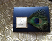 CUSTOM ORDER for Christina - Metallic Pocket Wedding Invitations with Peacock Feather