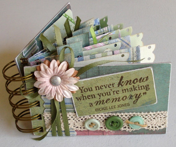 RESERVED for ANGEE - Photo Album Mini or Journal,  Memories, Green