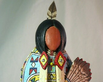 Cheyenne Indian Native American buckskin fancydancer no face art doll regalia collectible historical replica tribal