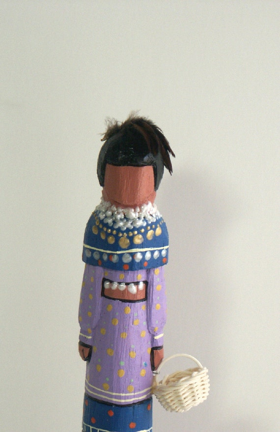 Seminole Faceless art doll Native American Indian Florida wood Ooak gift collectible tribal