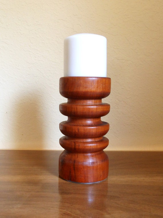 wood pillar candle holder