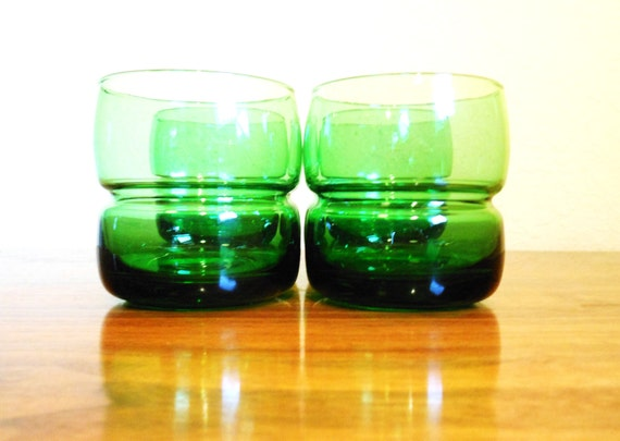 RESERVED for Adriane green glass tumblers / set of four