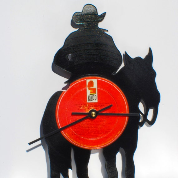 Cowboy Clock | Vinyl Record • Upcycled Recycled Repurposed • Handmade • Western • Shadow Art Decor • Silhouette