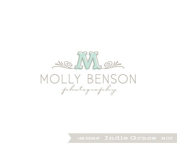 Custom PreDesigned / pre-made modern initial logo for photography boutique or etsy shop