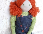 """Waldorf Inspired Style Soft Cloth Doll """"Hannah"""" with Reversible Dress"""