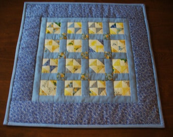 Miniature Scrappy Blue and Yellow Doll Quilt or Wall Hanging
