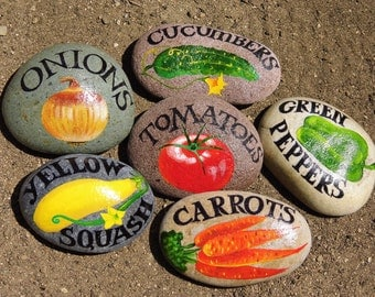 Mark your garden with vegetable signs on the rocks. Gift.