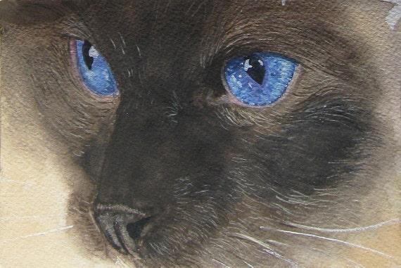 Artist Trading Card:  Pet Portrait in watercolor