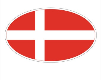 Oval sticker - Danish flag
