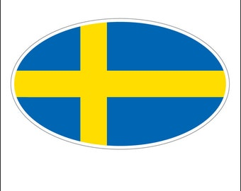 Oval sticker - Swedish flag