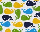 1 Yard Urban Zoologie Whales Lime/Blue/White