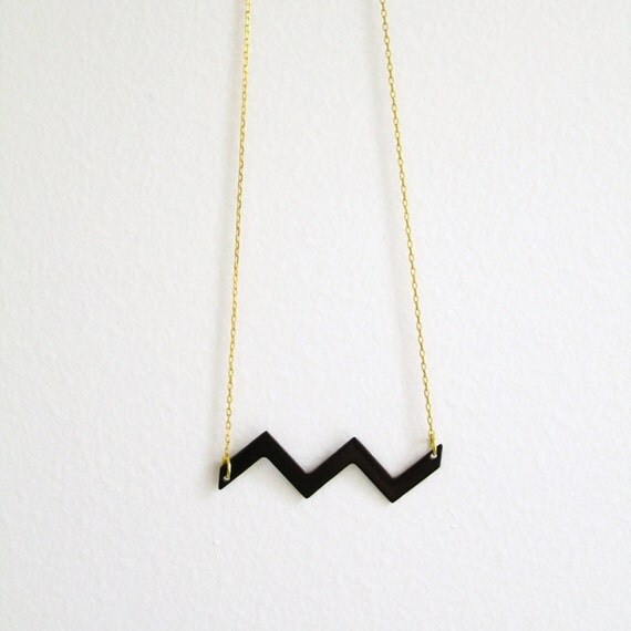 Black Sea geometric necklace - free shipping -  vintage enamel black wave on a shiny brass chain