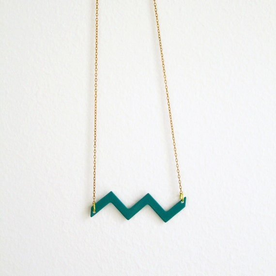 Amazon chevron necklace - geometric vintage enameled teal wave on a vintage brass chain - free shipping