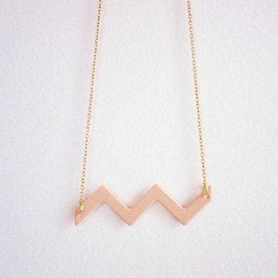 Ancient City of Petra enameled chevron necklace -   vintage enameled chevron on a vintage brass chain - free shipping