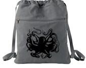 Octopus Backpack Gray Drawstring Canvas Book Bag