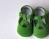Apple Green Suede T-strap Baby Shoes