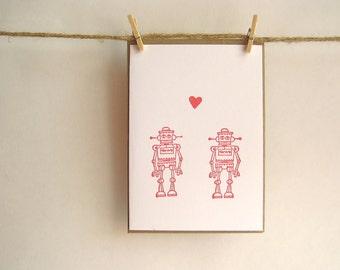 Robot Sweeties Card -- Robots in Love -- Red Robots on White Card