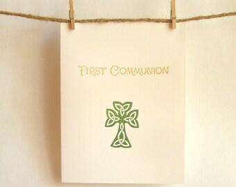 Communion Card Green Celtic Cross