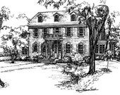 Custom House Portrait  Drawing of your home in ink,  Black and white Architectural Sketch, Original Artwork, Home Portrait