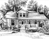 Custom House Portrait of your home, Ink house sketch on Archival paper, Wedding Anniversary New Home Gift, Unique artwork