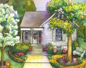 Watercolor Sketch, portrait of your home painted in watercolor with ink details, Custom watercolor painting from your photos