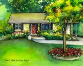 """Watercolor House Sketch  8""""x 10"""" Architectural drawing of your home from photo - Custom home portrait of family house"""