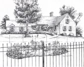 Custom House Drawing in Ink - House portrait from photos - Architectural Ink drawing of your home - personalized artwork - unique gift