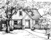 """House Portrait in Ink 8""""x 10"""" in 11""""x 14"""" mat - your home drawn in ink - Architectural sketch of building - Black ink drawing custom artwork"""