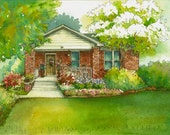 """Watercolor House Painting 8""""x 10"""" Personal artwork, custom home drawing, house portrait, commissioned watercolor house portrait"""