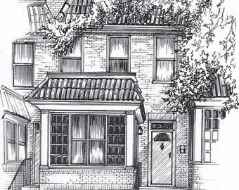 Custom Home Portrait in Pen and Ink - Personal Architectural Drawing - Ink sketch of your house custom drawn from photograph
