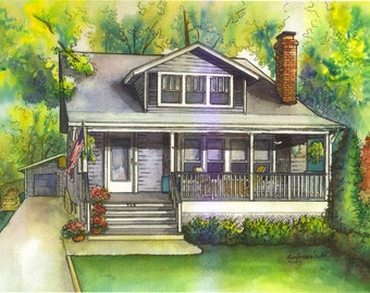 Custom House Portrait in Watercolor and Ink, Architectural painting of your home or business created by hand