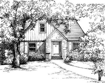 "House Portrait in Ink 8""x 10"" in 11""x 14"" mat - your home drawn in ink - Architectural sketch of building - Black ink drawing custom artwork"