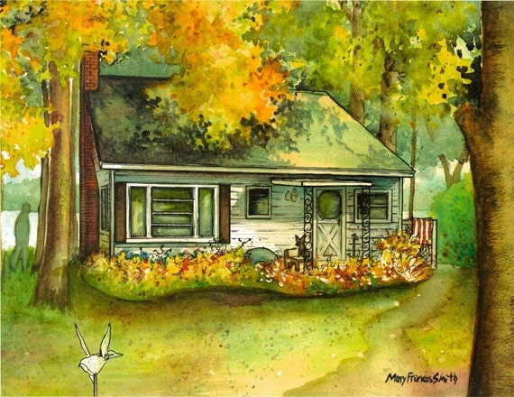 Watercolor Cottage Portrait , Custom portrait painted of your home or cottage commissioned home portrait, sample as seen on The Walking Dead