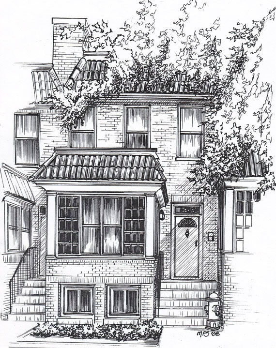 Custom home portrait in pen and ink personal by for House drawing