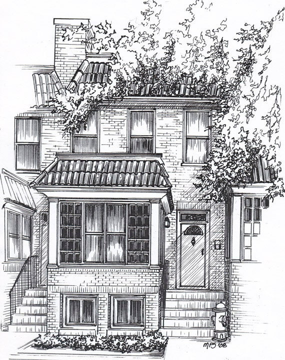 Custom home portrait in pen and ink personal architectural for Architectural drawings of houses