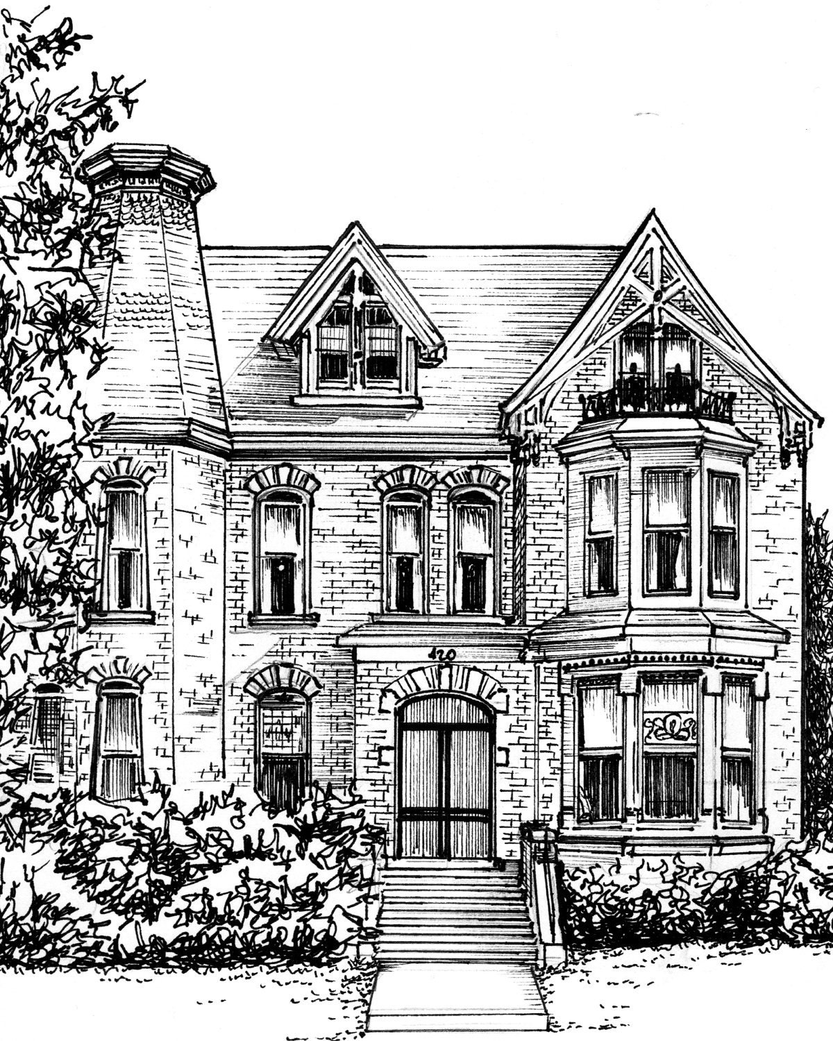 Mansion Drawing: Custom House Portrait In Ink Architectural Home Rendering