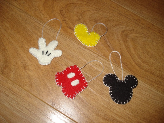 Mickey Mouse inspired ornaments Wool Felt Penny Rug type