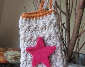 Boho Rustic Handmade crochet Case for cellphone iPhone with Star