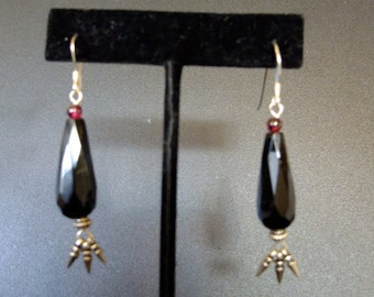 Onyx, Garnet, and Sterling Silver Drop Earrings