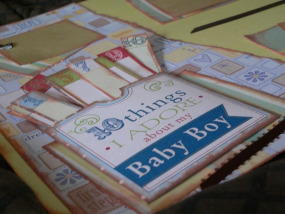 2 12x12 Premade Scrapbook Page Layout..10 Things I adore About My Baby Boy...CUTE