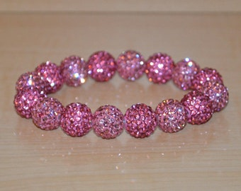 12mm Pink Pave Crystal Ball Bead Stretch Bracelet - 1216B