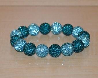 12mm Turquoise/Aqua/Blue-Green Pave Crystal Ball Bead Stretch Bracelet - 1216B