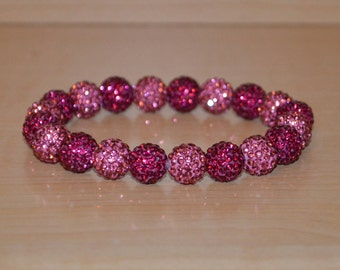 10mm Pink and Hot Pink/Fuchsia Pave Crystal Ball Bead Stretch Bracelet - 1020B